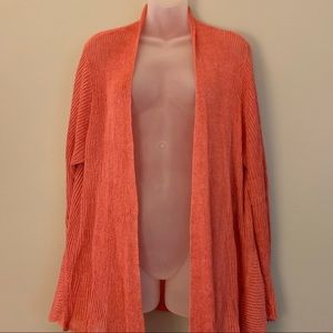 Eileen Fisher Linen Draped Coral Cardigan